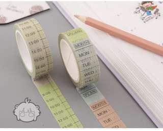 {INSTOCK} Time table washi tape