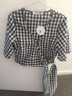 Atmos&Here Gingham Cropped Top