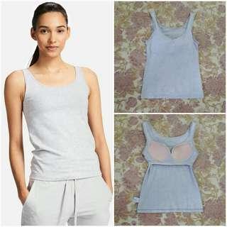 UNIQLO Cotton Bra Sleeveless Top (Gray S)