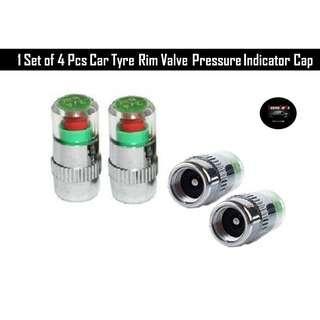 1 Set of 4 x Car Tyre Pressure Alert Valve Cap, Tire Monitor Sensor Air Caps, Wheel Psi Indicator Safety