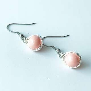 Herringbone wire wrapped Swarovski pearls with stainless steel earwire