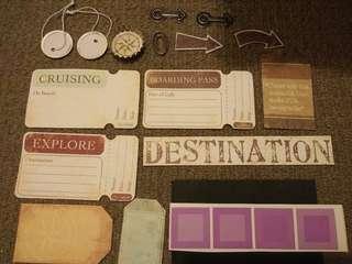 Travel themed craft embellishments