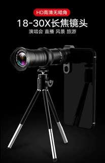 【現貨】〖包郵〗人像背景虛化 手機 長焦 高清 18-30X倍變焦望遠鏡 外置拍照攝像鏡頭 演唱會 蘋果X 華為 vivo oppo 小米 通用手機鏡頭
