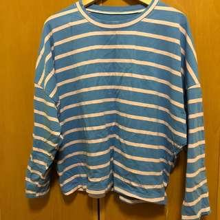 純棉飛鼠袖藍粉條紋寬鬆上衣 #十一月女裝半價