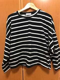 純棉黑色橫條紋寬鬆上衣 #十一月女裝半價