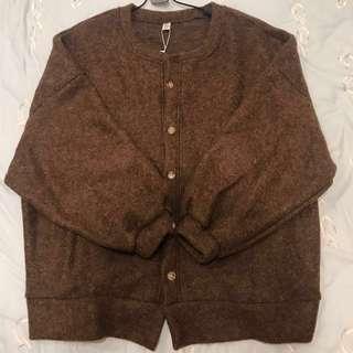 蝙蝠袖排扣毛衣外套