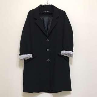 🚚 黑色 長版西裝外套