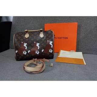 Louis Vuitton Speedy Bandouliere 30 Dog Print Bag