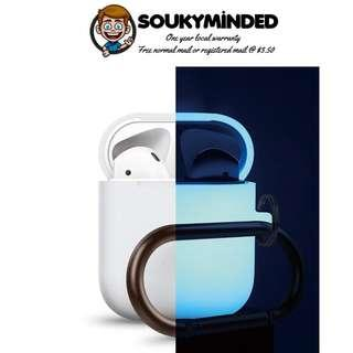 [IN-STOCK] elago AirPods Hang Case - [Extra Protection] [Added Carabiner] - for AirPods Case - Night Glow Blue