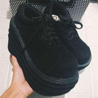 【現貨+預購】AT - 女品(882):絨*厚底鞋/女鞋(尺寸:35-39碼/高度:約9公分/防水台:約3公分/重量:約0.8KG)_免運。