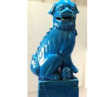 A large blue glaze porcelain Lion.