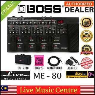 Boss ME-80 Guitar Multiple Effects Pedal with Gator Gk2110, Ernie Ball String, Cable and Adaptor