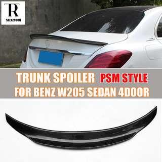 W205 PSM Style Carbon Fiber Rear Trunk Wing
