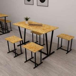 Meja Kursi Makan Set untuk Cafe Resto Bahan Waferboard&Besi