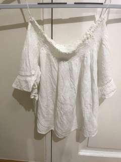 Bershka off shoulder white blouse