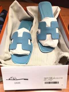 Hermes H拖鞋 彩藍色
