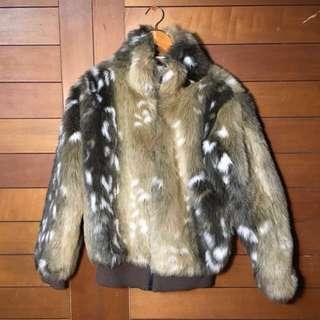 🏮經典古著 與眾不同時髦女伶 花栗鼠🐿️PAS DE DEUX毛毛絨外套皮草感 下北澤古著大衣短大衣暖大衣拉鍊外套日本大衣外套