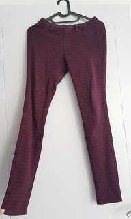 Celana UNIQLO panjang legging jegging bahan katun halus HIGH QUALITY flanel kotak merah maroon