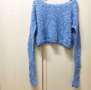 Hollister Hco blue crop top knitwear / sweater 藍色 短身 冷衫 可露膊