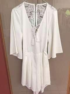 White playsuit with crochet detailing