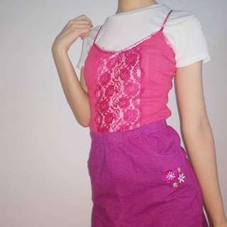 O'Kayce Embroidered Purple Peplum Skirt