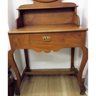 Elegant antique colonial teak wood dressing table