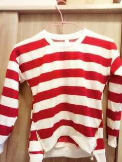 超美紅白條紋上衣
