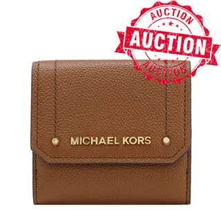 """Auction """"Like"""" & """"Bid"""" Authentic Brand New Michael Kors Hayes Medium Trifold Coin Wallet Luggage Brown LATEST DESIGN From USA Seggusted Retail: $318"""