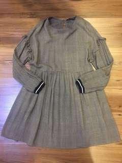 Zara Plaid Gray Dress