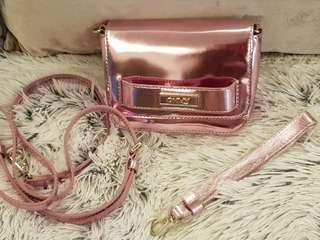 Authentic DKNY Leather Sling/Clutch Bag