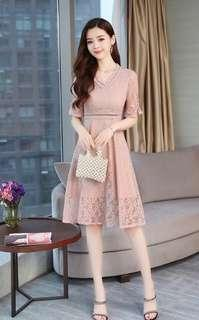 Light Pink Lace Sheath Cocktail Dress with Half Sleeve