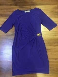 Blue elegant 3/4 office or formal dress