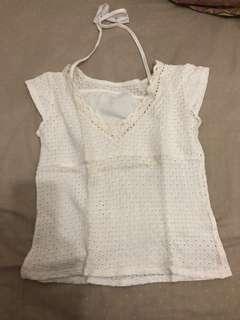 Kaos wanita krew putih halter neck rajut lace