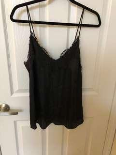 H&M black cami with lace detail