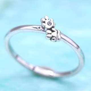 DualPaws 925 sterling silver ring with diamond, dog paws ring, animal ring, Tigarpaws collection, RN343