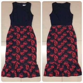 Love Bonito Yadriane Contrast Jacquard Ruffle Hem Dress (Navy)
