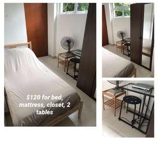 $ for all! Bed, mattress, and 2 small tables