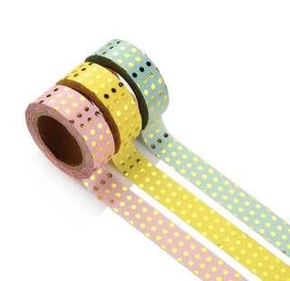 { INSTOCK } Gold stamping dotted washi tape