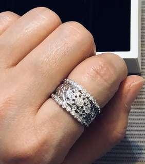 18K 750 白金 優雅 高貴 歐洲 款 37 份 鑽石 粗款 戒指 diamond ring