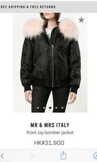 New pink fur black bomber Mr and Mrs XXS jacket