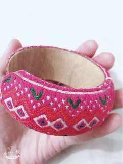 民族手鐲🦄針織 桃紅色
