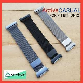 🚚 Fitbit Ionic Formal Metal Leather Straps Casual
