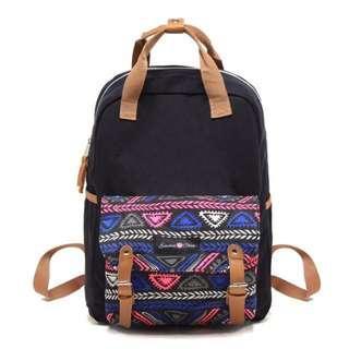 Emma & Chloe Canvas Printed Unisex 2 way Backpack - Black