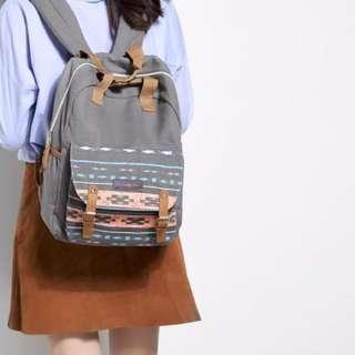 Emma & Chloe Canvas Printed Unisex 2 way Backpack - Grey