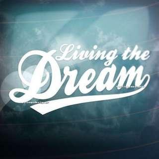 Living The Dream Sticker / Car Decal