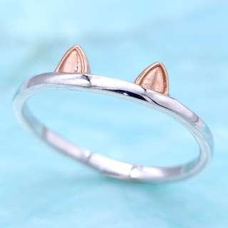 Pet Kitten Cat Dog Meow ear 925 silver ring, rose gold plated, stackable, tigarpaws collection, RN-347