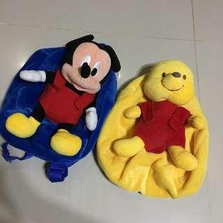 $7 for 2 Mickey and Pooh back pack