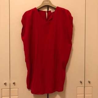 🚚 韓版大紅色短袖上衣洋裝