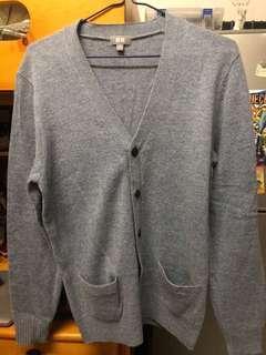 Uniqlo Lambswool blend v neck cardigan 男裝淺藍色冷衫