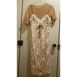 Korean Crochet Lace Dress - light Brown Nude Colour